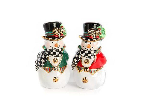 MacKenzie-Childs Top Hat Snowman Salt & Pepper Set