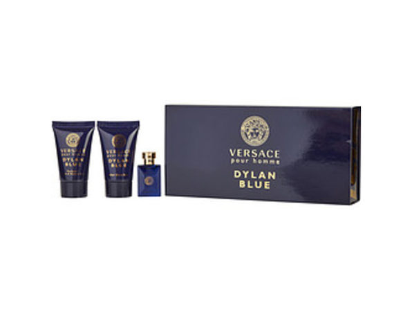 VERSACE DYLAN BLUE by Gianni Versace EDT .17 OZ MINI & SHOWER GEL .8 OZ & AFTERSHAVE BALM .8 OZ For MEN