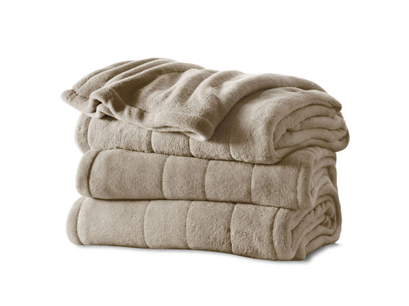 Sunbeam Channeled Microplush Electric Heated Blanket - Twin Full Queen King Size - Mushroom G9