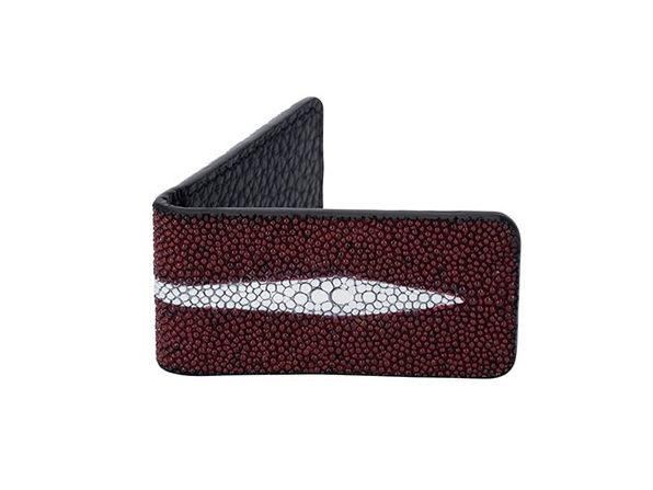 Andre Giroud Exotic Stingray Mini Money Clip - Burgundy - Product Image