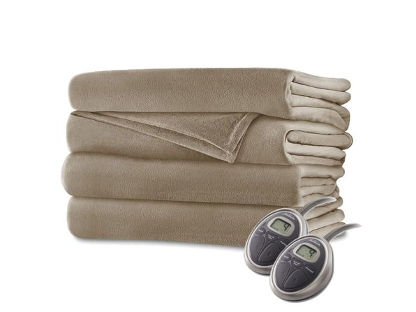 Sunbeam Velvet Plush Electric Heated Blanket King Size Mushroom Washable Auto Shut Off 20 Heat Settings - Mushroom