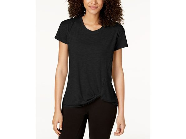 Ideology Women's Knot-Front T-Shirt Black Size Small