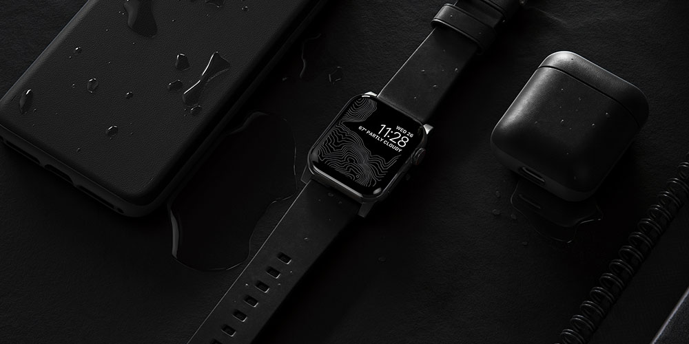 A smart watch, phone and AirPod case