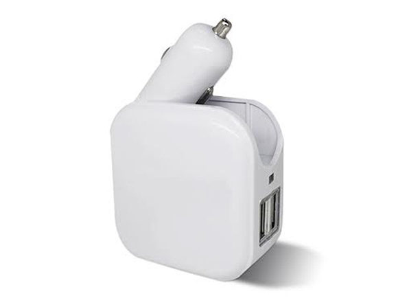 2-in-1 Car and Wall USB Charger (White) - Product Image