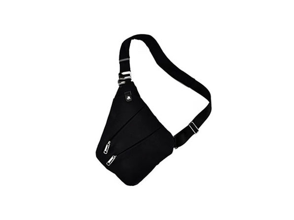 Waterproof Triangle Side Crossbody Bag - Black - Product Image