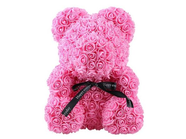 """Homvare Foam Rose Teddy Bear 14"""" with Gift Box for Valentines Day, Anniversary and Birthday - Pink/Black"""