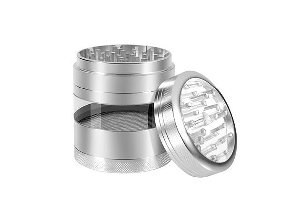Aluminum Herb Grinder with Extra-Large Window (Silver)