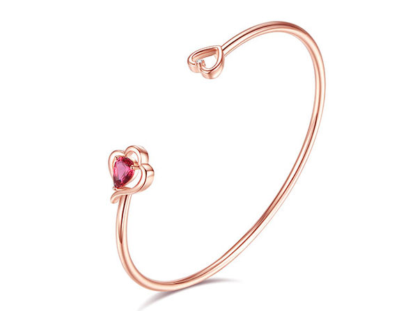 Diamond and Swarovski Rose Gold Love Bangle - Product Image