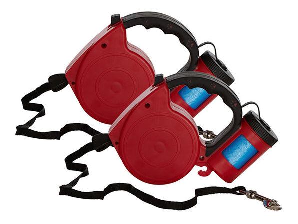 EZ-PET Retractable Leash with Bag Dispenser: 2-Pack