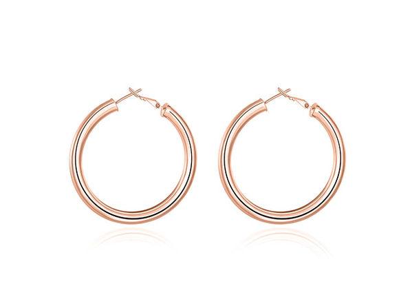 Tube Hoop Earrings Rose Gold - Product Image