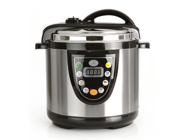 Berghoff 6.3 Quart Stainless Steel Non-Stick Electric Pressure Cooker with Warming Settings, Black/Silver (Refurbished)