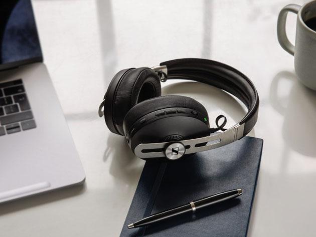 Sennheiser headphones on a desk