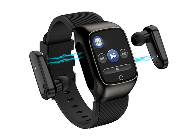 A smart watch with earbuds that connect to it