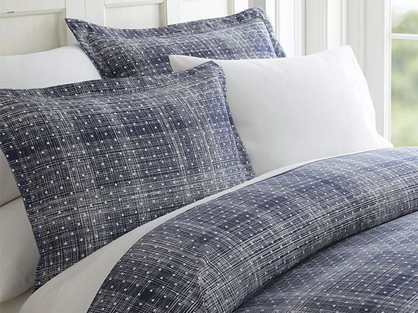 Navy Polkadot Patterned 3-Piece Duvet Cover Set - Full/Queen - Product Image