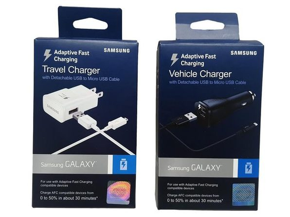Samsung Adaptive Fast Charging USB Car Charger & Travel Charger - (Retail Packing) AFC Technology - 2 Pack
