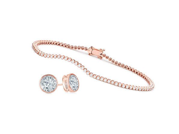 Bezel Earrings & Tennis Bracelet Set (Rose Gold)
