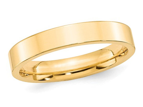 Mens 14K Yellow Gold 4mm Flat Comfort Fit Wedding Band - 13