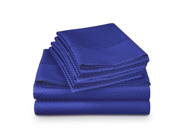 4-Piece Checkered Navy Blue Sheet Set (Queen)