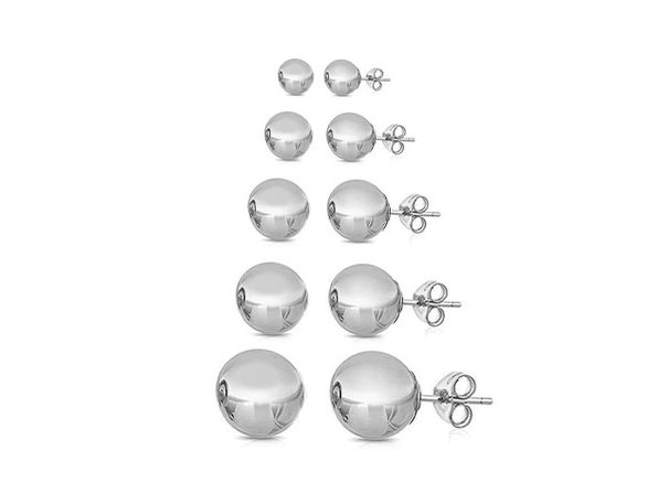 Multi-Sized Ball Stud Earrings: 5 Pairs (Silver)