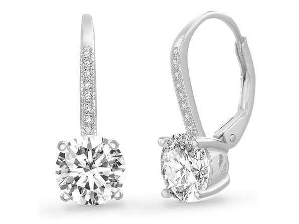 Leverback Earrings Made with Swarovski Elements - Silver - Product Image