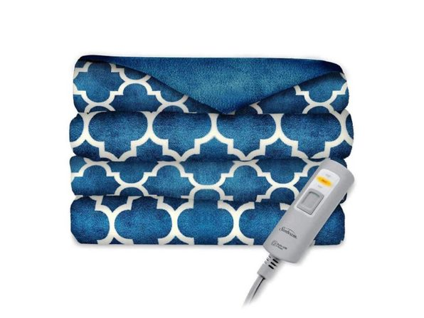 Sunbeam Velvet Plush Electric Heated Throw Blanket Morocco Blue Horizon Washable Auto Shut Off 3 Heat Settings - Benjamin Plaid