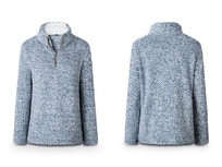 Half Zip Furry Pullover- Blue XLarge - Product Image