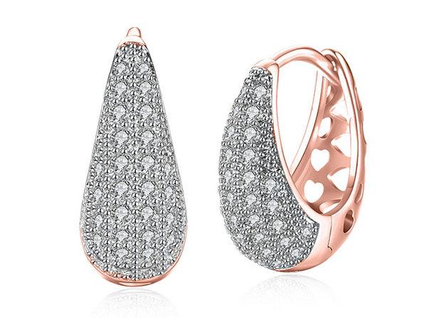 Swarovski Micro-Pav'e Pear Shaped Teardrop Huggie Earrings (Rose Gold)