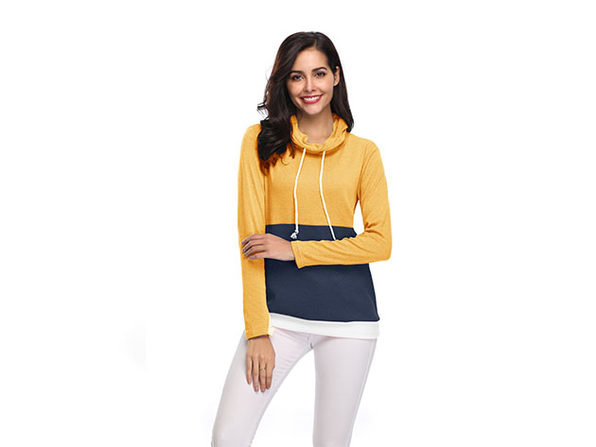 Two-Tone Cowl Neck Pullover with Thumb Holes (Yellow/Large)