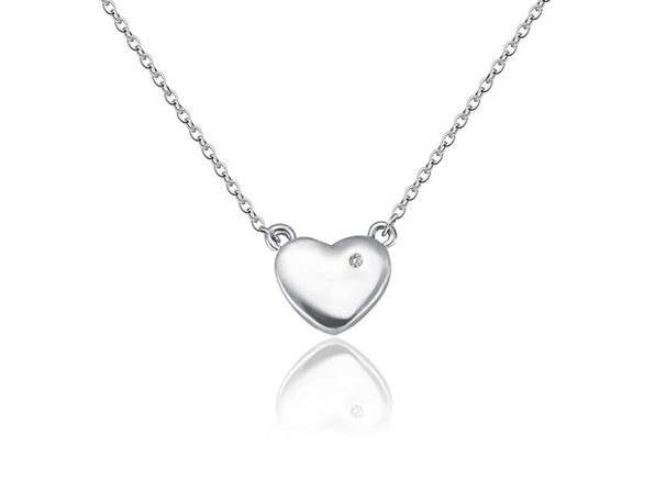 Natural Diamond Heart Pendant Necklace in White Gold Plating