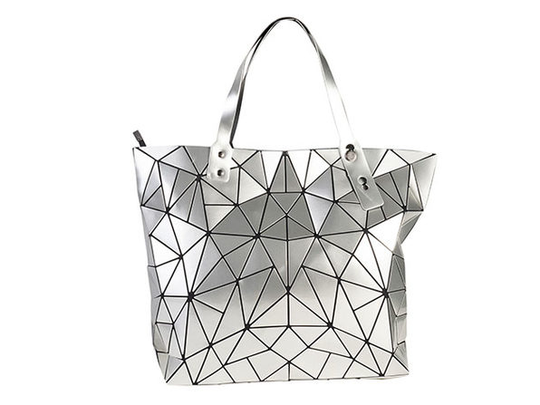 Geo Shaped Tote with Zipper - Silver - Product Image
