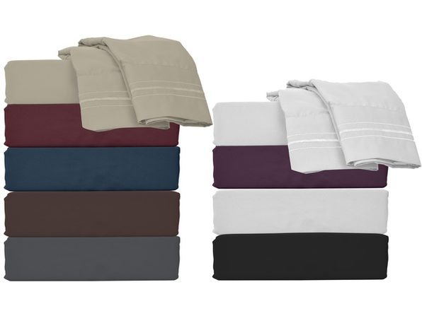Style Basics Super Soft Brushed Microfiber Bed Sheet Set - 1800 Series Easy-Clean - King Grey