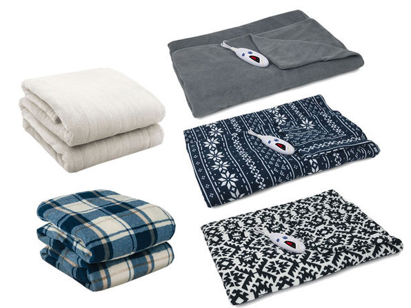 Biddeford Microplush Electric Heated Warming Throw Blanket Digital - Navy Blue