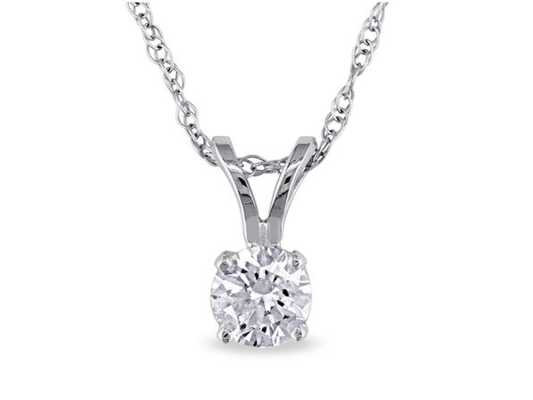 Diamond Solitaire Pendant 1/3 Carat (ctw I2-I3 , I-J) in 14K White Gold with Chain