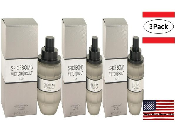 3 Pack Spicebomb Fresh by Viktor & Rolf Eau De Toilette Spray 3 oz for Men - Product Image