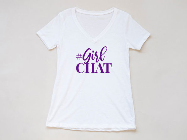 Girl Chat Logo White V Neck-L - Product Image
