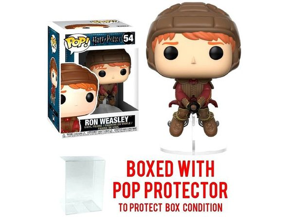 Funko Pop Movies: Harry Potter - Ron Weasley on Broom Vinyl Figure (Bundled with Pop Box Protector Case) - Product Image