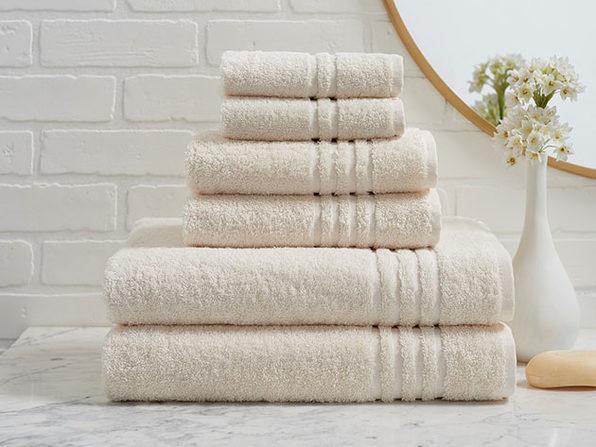 Turkish Cotton 6 Piece Ensemble Towel Set - Ivory