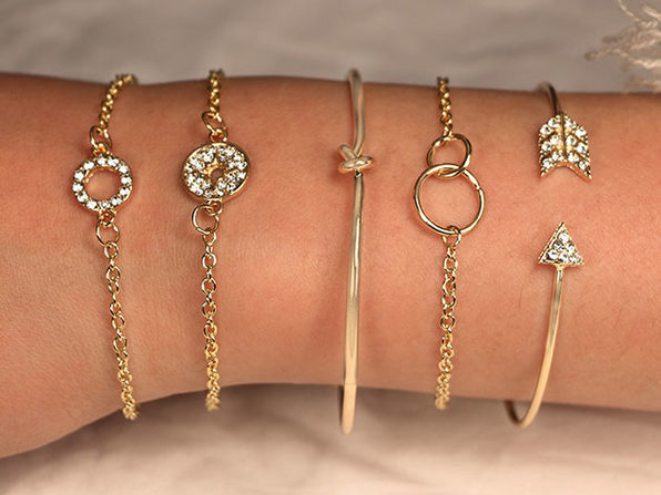 Pav'e Loveknot Bracelets: Set of 5