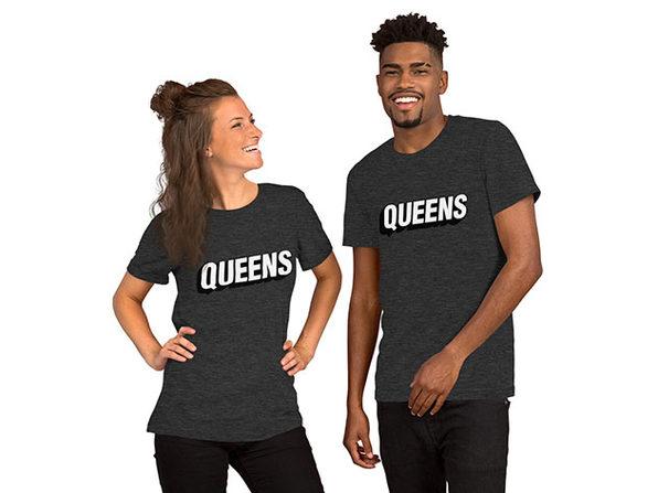 QUEENS Unisex T-Shirt – Dark Gray Heather (XL)