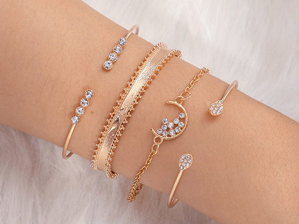 14K Gold-Plated White Crystal Celestial 4-Piece Bangle Set