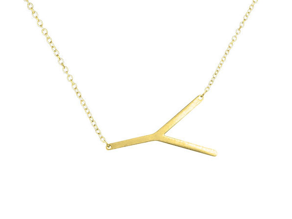 14K Gold Plated Letter Necklace - Y - Product Image