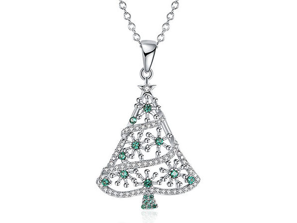 Christmas Tree Necklace Paved with Green Swarovski