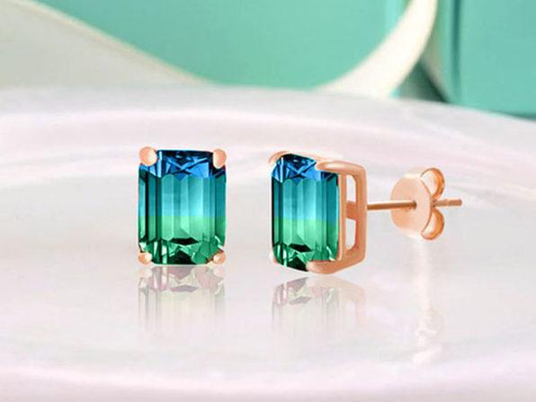 Stud Earrings with Emerald Cut Swarovski Crystals (Aqua/Green)
