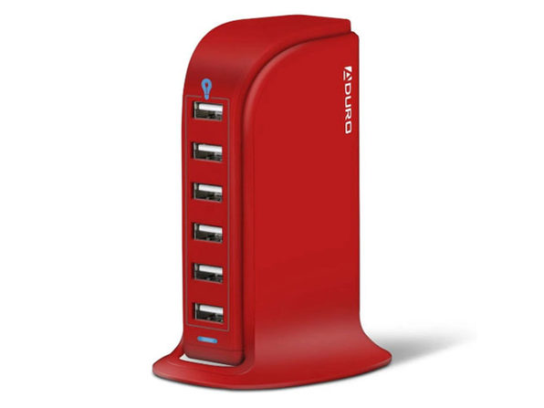 Power Tower 6-Port USB Charging Hub (Red)