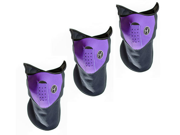 Neoprene/Fleece Neck & Face Masks (Purple/3-Pack)