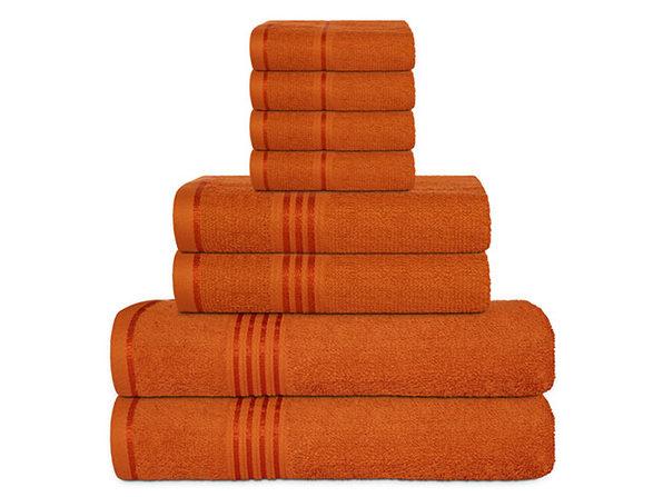 Hurbane Home 8-Piece Bath Towel Set Orange - Product Image