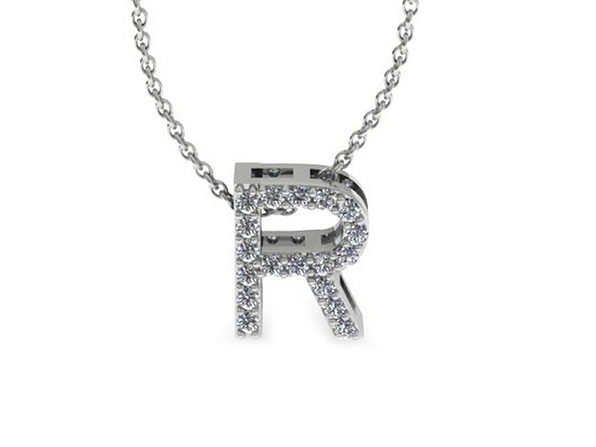 Diamond Initial Necklace In 14K White Gold (R)
