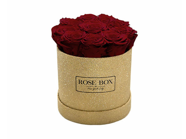 Small Gold Box with Red Wine Roses