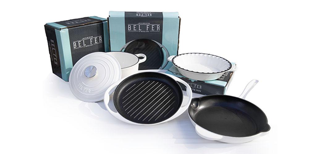 Four enameled cast iron pots and pans
