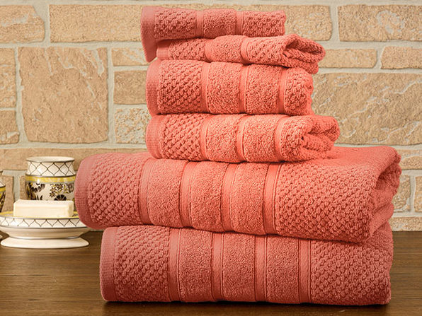 6-Piece Bibb Home Cotton Towel Set (Coral) - Product Image